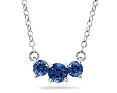 1 Carat Three Stone Sapphire Necklace, 14K White Gold