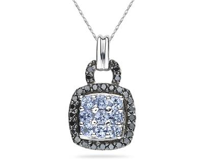 Buy Tanzanite and Black Diamond Royal Pendant 10K White Gold