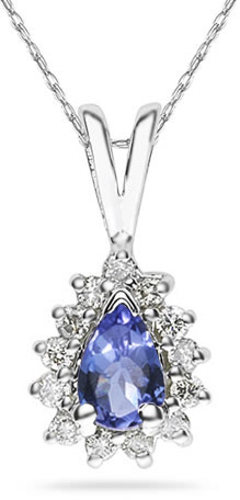 6mm x 4mm Pear Shaped Tanzanite and Diamond Flower Pendant in 14K White Gold