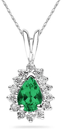7mm x 5mm Pear Shaped Emerald and Diamond Flower Pendant in 14K White Gold