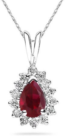7mm x 5mm Pear Shaped Ruby and Diamond Flower Pendant in 14K White Gold