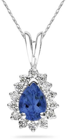 7mm x 5mm Pear Shaped Sapphire and Diamond Flower Pendant in 14K White Gold