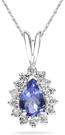 7mm x 5mm Pear Shaped Tanzanite and Diamond Flower Pendant in 14K White Gold