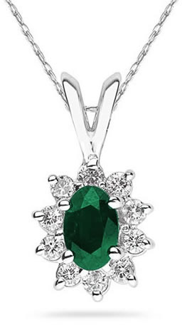 6mm x 4mm Oval Shaped Emerald and Diamond Flower Pendant in 14K White Gold