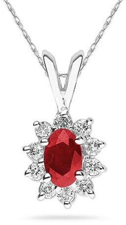6mm x 4mm Oval Shaped Ruby and Diamond Flower Pendant in 14K White Gold