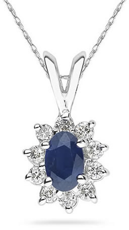 Buy 6mm x 4mm Oval Shaped Sapphire and Diamond Flower Pendant in 14K White Gold