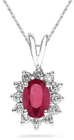 7mm x 5mm Oval Shaped Ruby and Diamond Flower Pendant in 14K White Gold