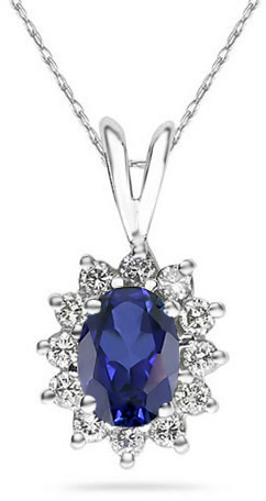 Buy 7mm x 5mm Oval Shaped Sapphire and Diamond Flower Pendant in 14K White Gold