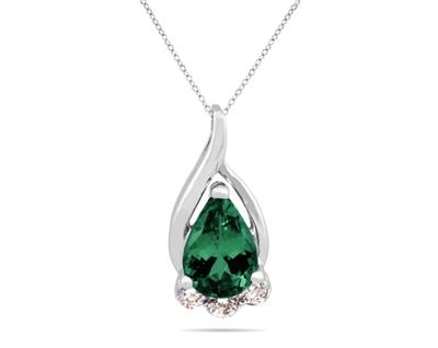 Buy Emerald and Diamond Pendant in 10K White Gold