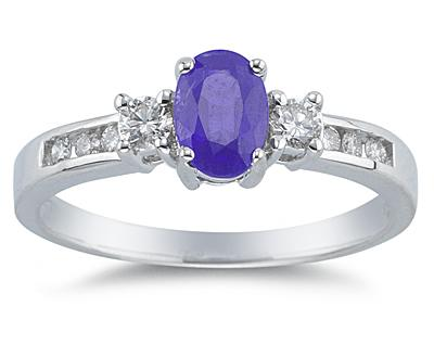 Tanzanite and Diamond Regal Channel Ring, 14K White Gold