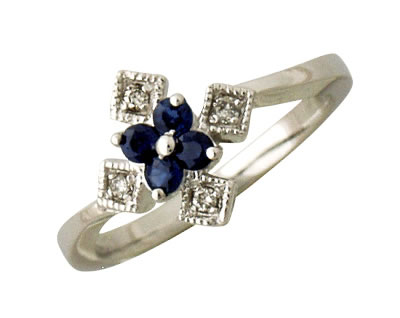 Buy 14kt White Gold Diamond and Sapphire Ring