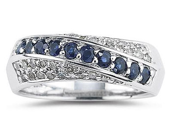 Sapphire and Diamond Ring in 10K White Gold
