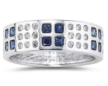 Buy Sapphire and Diamond Ring 14K White  Gold