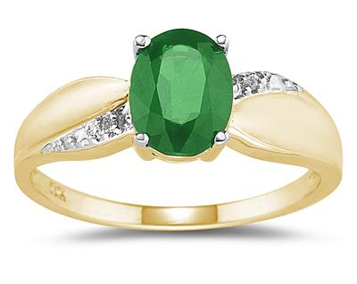 Buy Emerald and Diamond  Ring 10K Yellow Gold