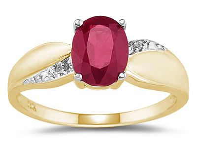 Ruby and Diamond Ring 10K Yellow Gold