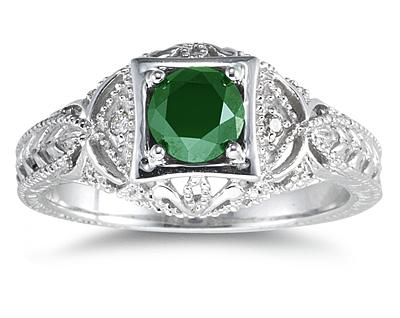 Emerald and Diamond Victorian Ring in 14K White Gold