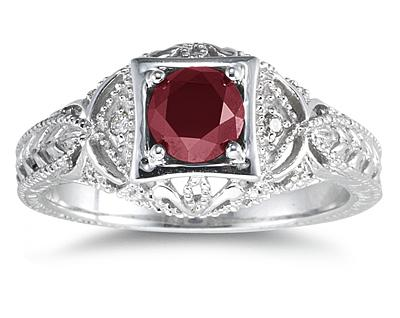 Ruby and Diamond Victorian Ring in 14K White Gold