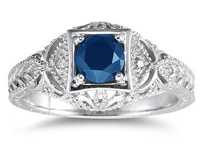 Sapphire and Diamond Victorian Ring in 14K White Gold