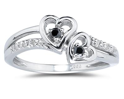 Buy Black and White Diamond Heart Ring in White Gold