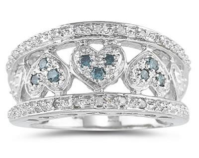Blue and White Diamond Heart Ring in 10K White Gold