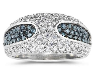 Buy Blue Diamond and White Sapphire Ring in 14K White Gold