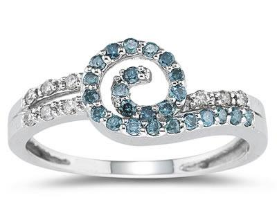 Blue and White Diamond Swirl Ring, 14K White Gold