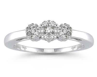 Buy 0.25 Carat Diamond Cluster Ring in 10K White Gold