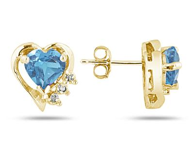 Blue Topaz and Diamond Heart Earrings, 10K Yellow Gold
