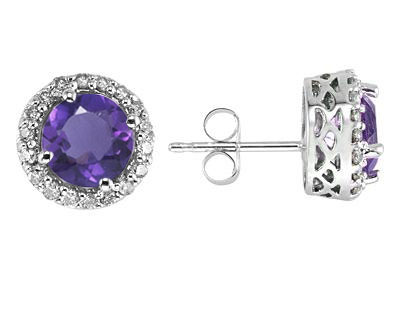 Amethyst and Diamond Earrings, 14K White Gold