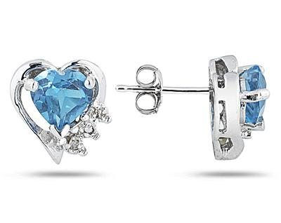 Blue Topaz and Diamond Heart Earrings, 10K White Gold