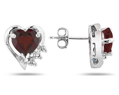 Garnet and Diamond Heart Earrings, 10K White Gold