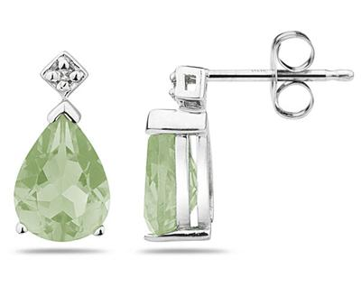 Pear Shaped Green Amethyst and Diamond Earrings, 14K White Gold