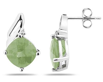 5 Carat Cushion Cut Green Amethyst & Diamond Earrings, 14K White Gold