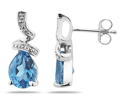 Pear Shaped Blue Topaz and Diamond Earrings, 10K White Gold