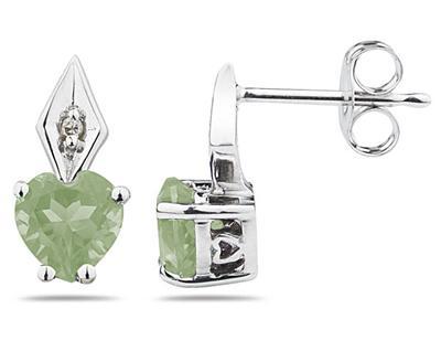 Buy Heart Shape Green Amethyst and Diamond Earrings, 10K White Gold