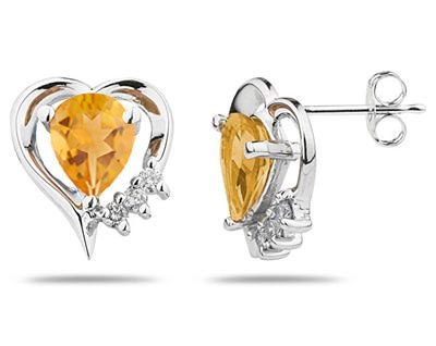 Pear Shaped Citrine and Diamond Heart Earrings, 10K White Gold