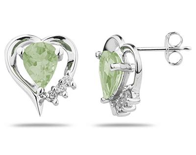 Pear Shaped Green Amethyst and Diamond Heart Earrings, 10K White Gold