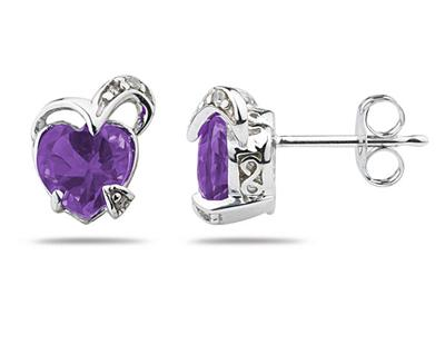 1.50 Carat Heart Shape Amethyst and Diamond Earrings in 14K White Gold (Earrings, Apples of Gold)