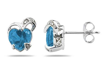 1.50 Carat Heart Shape Blue Topaz and Diamond Earrings in 14K White Gold