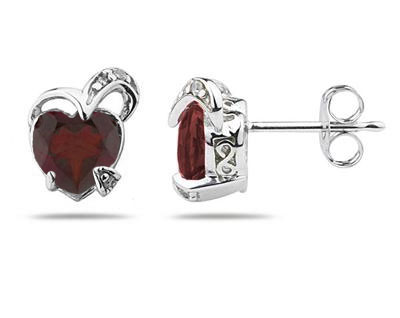 1.50 Carat Heart Shape Garnet and Diamond Earrings in 14K White Gold (Earrings, Apples of Gold)