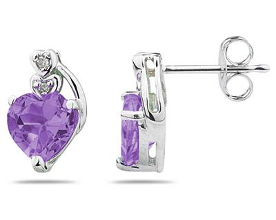 Heart Shape Amethyst and Diamond Earrings, 10K White Gold