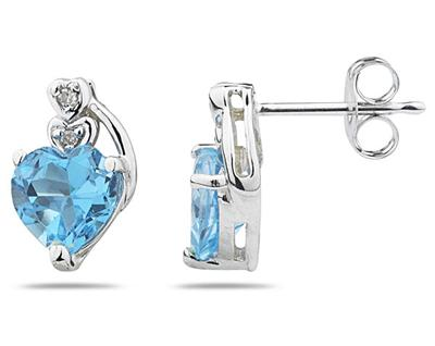 Heart Shape Blue Topaz and Diamond Earrings, 10K White Gold