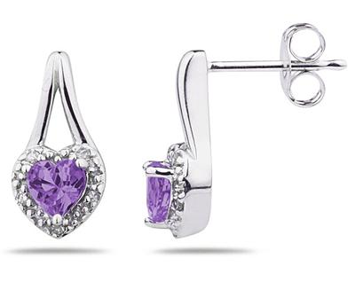 Amethyst and Diamonds Heart Earrings, 10K White Gold