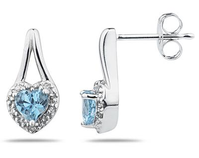 Blue Topaz and Diamonds Heart Earrings, 10K White Gold