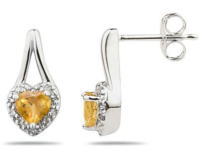 Citrine and Diamonds Heart Earrings, 10K White Gold