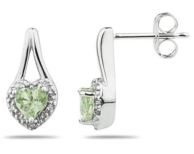 Green Amethyst and Diamonds Heart Shape Earrings, 10K White Gold