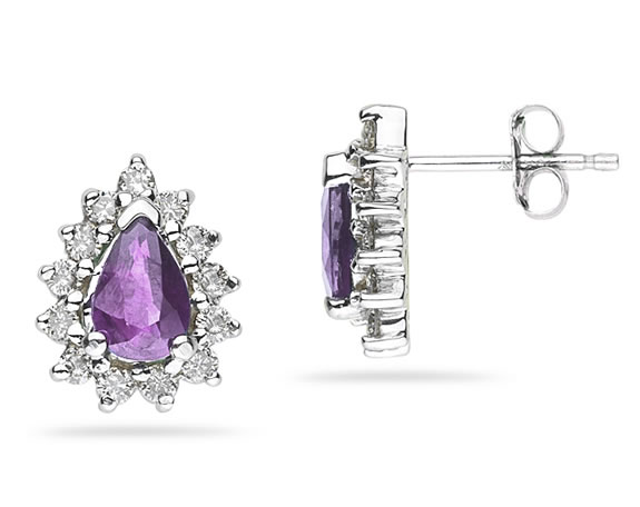 6mm x 4mm Pear Shaped Amethyst and Diamond Flower Earrings in 14K White Gold