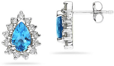 6mm x 4mm Pear Shaped Blue Topaz and Diamond Flower Earrings in 14K White Gold