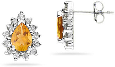 6mm x 4mm Pear Shaped Citrine and Diamond Flower Earrings in 14K White Gold