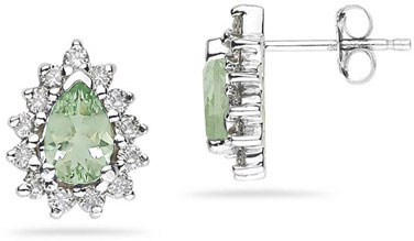 6mm x 4mm Pear Shaped Green Amethyst and Diamond Flower Earrings in 14K White Gold